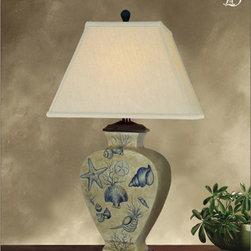 JB Hirsch Home Decor - Star and Shells Table Lamp - -Hand Painted Porcelain Lamp JB Hirsch Home Decor - J15381