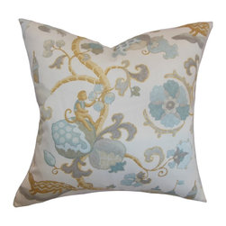 "The Pillow Collection - Majella Floral Pillow Natural Aqua 18"" x 18"" - Our pillow collection features some of the most beautiful floral patterns. This accent pillow features a soft and inviting design with floral patterns in shades of muted blue, purple, yellow and white. This square pillow is perfect for spring and summer season. Use this decor pillow to update your decor style. Made from 100% cushy and soft cotton material. Hidden zipper closure for easy cover removal.  Knife edge finish on all four sides.  Reversible pillow with the same fabric on the back side.  Spot cleaning suggested."