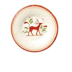 """Vietri Renna Reindeer Salad Plate Fall Holiday Italian Dinnerware - The Renna salad plate is a festive piece for fall and the holidays. In Italian lore, the reindeer, or renna, is a thing of majesty and grace. Renna's rich, warm colors evoke nature, and the animal's graceful silhouette exudes elegance. Made of terra bianca and handpainted in Umbria. Dishwasher safe. This piece measures approximately 8.5""""D."""