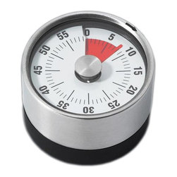 Large Timer - 60 minute kitchen timer. Easy to see at a glance how much time is left with the red pie slice indicator. Mechanical movement so you don®t need batteries. Classic bell alarm.