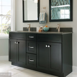KraftMaid Cabinetry Onyx Bath - Recessed panel doors mimic the clean ...