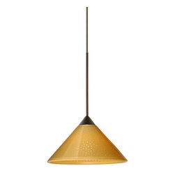 "Besa Lighting - Besa Lighting 1XC-282490-LED Kona 1 Light LED Cord-Hung Mini Pendant - The Kona pendant features a wide cone-shaped glass, that demonstrates contemporary sensiblities. Our Mango Starpoint glass is pressed glass that features small points of clear that project from the mango outer and white inner finish, creating a star-light effect. When lit the glass is vitalizing as well as stylish. The gleaming color can accent any modern or classic decor. This handcrafted glass uses a process where every glass is consistently produced using a press mold, keeping variations to a minimum. The 12V cord pendant fixture is equipped with a 10' coaxial cord with teflon jacket and an ""Easy Install"" Dome monopoint canopy.Features:"