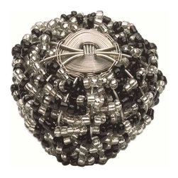Atlas Homewares - Atlas 3185 Bollywood Large Beaded Weave Door Knob Black & White - Atlas 3185 Bollywood Large Beaded Weave Door Knob Black & White