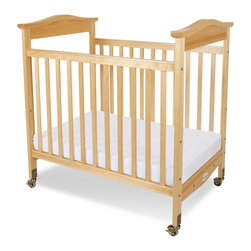 Foundations - Compact Hardwood Crib - Biltmore - The crib was manufactured in 2011 or later and complies with the new federal safety standards issued by the CPSC. Made of Hardwood. Includes Professional Series 3 in. ultra-durable Antimicrobial mattress and includes 2 in. non-marking, ultra-quiet casters (2 locking). Adjustable, 2 position mattress board. High quality construction includes mortise and tenon joinery and high strength fasteners for superior durability. Solid Steel, SafeSupport crib frame has a lifetime warranty. Plastic teething rails protect child and crib. Headboards arched crown molding. Crib has full 5 year warranty, with lifetime warranty on frame, casters and hardware. Some assembly required. 27.65 in. W x 40.4 in. L x 41.15 in. H (42 lbs.). Crib Safety: ivgStores cares about the safety of the products we sell especially for your new little one. We work closely with our manufacturers and only carry those items which meet or exceed federal and state laws. If you are considering buying a new crib or even using a previously owned or heirloom crib, we recommend you visit  cribsafety.org to learn more about crib safety.When you want to make a statement in style and quality, turn to the Biltmore crib.  Beading details the perimeter of the crib to make this crib the most luxurious crib available today in a compact size.  Color coordinated finishes are matched with hardware and casters for added beauty. Fixed-side crib features a lower profile, providing easier accessibility to infant while reducing back strain for caregiver. Crib features Clearview end panels which allow for easy viewing of infant. Crib may be used with optional First Responder Evacuation System, not included. JPMA certified.  Foundations uses only wood certified to having been harvested with safe and responsible forestry practices and all products comply with the PEFC certification seal.