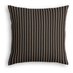 Black & White Pinstripe Custom Throw Pillow - The every-style accent pillow: this Simple Throw Pillow works in any space.  Perfectly cut to be extra fluffy, you'll not only love admiring it from afar but snuggling up to it too!  We love it in this black & white woven ticking stripe as classic as chic & shiny piano keys.