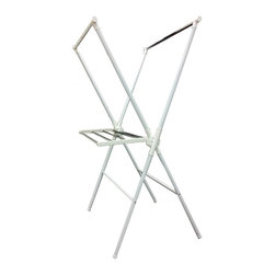 ORE International - Laundry Rack in White - Adjustable and folding. Warranty: 30 days. Made from metal and plastic. Assembly required. 35 in. L x 27 in. W x 51 in. H (9.46 lbs.)This ordinary laundry rack will be extremely convenient staying at home with you.
