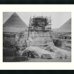 Amanti Art - Restoration Work on the Sphinx at Giza, 1925 Framed Print - Add a piece of Egyptian history to your home decor.  Known as one of the worlds oldest statues, The Great Sphinx of Giza was excavated from 1925 to 1936.