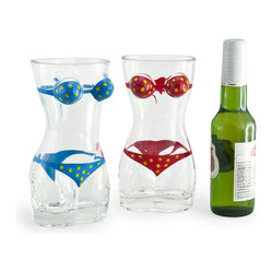 Danya B. - Set of 2 Lady Torso Bikini Beer Mugs - Bring levity to your home happy hour with these whimsical beer glasses. Each of these fun, painted glasses holds a half liter of beer and is made for sipping by the pool or patio.