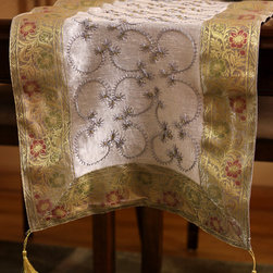 """Elegant Table Runners - Beautiful """"silver"""" Table Runner. Hand embroidered desing made in India. Dupion fabric. Perfect decor idea to embellish your room."""