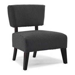 None - Delano Grey Stripe Accent Chair - Give your interior a decidedly modern vibe with this stylish grey striped accent chair that just might become everyone's favorite seat. This chair features soft, comfortably padded upholstery and a kiln-dried hardwood frame with espresso-finished legs.