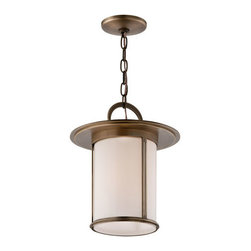Troy - Antique Brass Wright One-Light Hanging Post Mount Lantern Pendant - - Wright 1 Light Hanger Post Mount Lantern. Antique Brass Finish with Opal White Glass. Made From Solid Brass. Troy - F3247