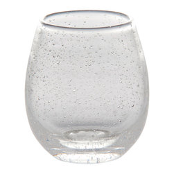 Clear Bubble Stemless Wine Glass - 16 Oz - Versatile and vivid for use as an all-purpose alternative to stemware, the Clear Bubble Stemless Wine Glass is made from heavy seeded glass, so it's both sturdy and interesting when used as a wine glass, water goblet, or breakfast juice tumbler. The tapered mouth mimics the tiny bubbles' roundness, but writ large for a transitional appeal on the table and in hand.