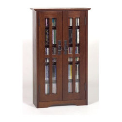 Leslie Dame - Wall Hanging Multimedia Cabinet w Glass Doors - Mount this multimedia console to any wall in your living room or home theater and save floor space while taking advantage of ample storage. Adjustable shelves allow you to store any movies or music with ease while the glass front doors provide style and easy visibility. Walnut finish. Fully adjustable shelves allowing for storage of DVD's, CD's, Videocassettes, and Game Cartridges. Including hand-rubbed Oak Veneer, Tempered Glass and Antique finished Metal door pulls. Some assembly required. 20 in. W x 5 in. D x 41 in. HMultimedia Storage Cabinets has the rare combination of timeless design and high quality construction.