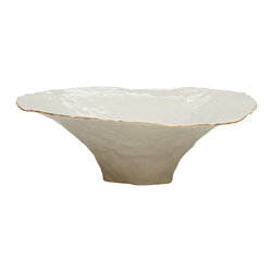 Isabel Halley - Large Pinched Bowl With Gold Rim - Handmade porcelain pinch pots, clear glazed to cone 6, with 22 karat gold rim. Each bowl is made by pinching the clay from the center all the way to the rim. All of our bowls are hand pinched as far as the porcelain will allow.