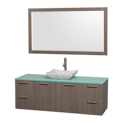 Wyndham Collection - Single Sink Vanity Set - Includes sink, green glass top, mirror, drain assemblies and P-traps for easy assembly. Faucet not included. Square Carrera marble sink. Two functional doors. Concealed soft close door hinges. Modern brushed chrome door pulls. Unique and striking contemporary design. Four functional drawers. Fully-extending soft-close drawer slides. Deep doweled drawers. Single-hole faucet mount. Plenty of storage space. Eight-stage preparation, veneering and finishing process. Highly water-resistant low V.O.C. sealed finish. Metal exterior hardware with brushed chrome finish. Wall-mount design. Mirror glass thickness: 0.75 in.. Warranty: Two years limited. Made from beautiful veneers over highest quality grade E1 MDF. Gray oak finish. Door: 17.25 in. W x 20.5 in. H. Drawer: 12.63 in. W x 10.13 in. H. Mirror: 58 in. W x 33 in. H (40 lbs.). Vanity: 60 in. W x 22.25 in. D x 21.25 in. H (124 lbs.). Handling Instructions. Installation Instructions - Mirror. Installation Instructions - VanityModern clean lines and a truly elegant design aesthetic meet affordability in the Wyndham Collection Amare Vanity. Each vanity provides a full complement of storage areas behind sturdy soft-close doors and drawers. A wall-mounted vanity leaves space in your bathroom for you to relax. The simple clean lines of the Amare wall-mounted vanity family are no-fuss and all style.