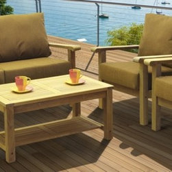 "Lamps Plus - Contemporary Amazonia 4-Piece Gilli Teak Seat Set - Amazonia 4-Piece Gilli Teak Seat Set. 4-piece patio set. Includes one sofa two armchairs and one coffee table. Brown finish. Eucalyptus wood construction. 100% high-quality teak wood. Includes free Feron Gard Wood Preservative for protection. Perfect for outdoor use. From the Amazonia collection. Some assembly required. Sofa is 66"" wide 33"" deep 32"" high. Armchairs are 30"" wide 33"" deep 32"" high. Coffee table is 30"" wide 23"" deep 17"" high.   4-piece patio set.  Includes one sofa two armchairs and one coffee table.  Brown finish.  Eucalyptus wood construction.  100% high-quality teak wood.  Includes free Feron Gard Wood Preservative for protection.  Perfect for outdoor use.  From the Amazonia collection.  Some assembly required.  Sofa is 66"" wide 33"" deep 32"" high.   Armchairs are 30"" wide 33"" deep 32"" high.   Coffee table is 30"" wide 23"" deep 17"" high."