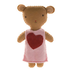 Kata Golda - Stuffed Companion - Bear, Girl - Kata Golda's Stuffed Companions make adorable playtime and cuddle pals. Hand-stitched with cotton thread and soft, hand-dyed wool felt, their hand-embroidered details make each one unique. Care: Gently spot wash with cold water by hand. Detergents can cause the wool to fade, so use caution and test in an inconspicuous area first.  Do not place items in the dryer; they will shrink.