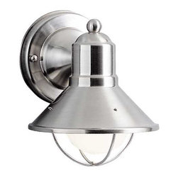 Kichler Lighting - Kichler Nautical Outdoor Wall Light in Brushed Nickel - 9021NI - This sleek conical outdoor wall light features a brushed nickel finish over aluminum, making it an attractive and durable outdoor light source. Enhancing the marine look is a cage-like structure, which also protects the bulb. Takes (1) 60-watt incandescent G25 bulb(s). Bulb(s) sold separately. UL listed. Wet location rated.