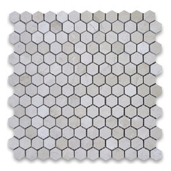 "Stone Center Corp - Spanish Crema Marfil Marble Hexagon Mosaic Tile 1 inch Polished - Crema Marfil Marble 1"" (from point to point) hexagon pieces mounted on 12x12"" mesh tile sheet"