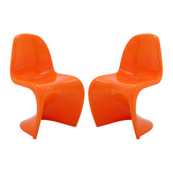 """Modway - Slither Dining Side Chair Set of 2 in Orange - Sleek and sturdy, rock back and forth in comfort with this injection molded marvel. Constructed from a single piece of strong ABS plastic, the """"s"""" shaped Slither chair can be found in many fashionable settings. Perfect for dining areas in need of a little zest, the design is versatile, fun and lively. Surprisingly cushy, choose from a selection of vibrant colors that won't fade over time. Slither is also perfect for spaces short on room. Set Includes: Two - Slither Dining Chair. Tough ABS Construction; Stackable up to 4 High; Ergonomically Designed; Set of Two Chairs; No Assembly Required; Seat Height: 18""""H; Overall Product Dimensions: 23""""L x 19""""W x 33""""H"""