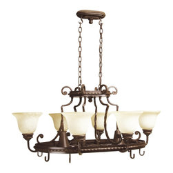 Craftmade - Craftmade Riata Pot Rack Traditional Chandelier X-8GA8318 - This multi-functional Craftmade chandelier also doubles as a pot rack, making it great for use over kitchen islands and peninsulas. From the Riata Collection, it features scrolling lines and a rich Aged Bronze finish. Six inverted lights housed in beautiful antique scavo glass shades complete the look.