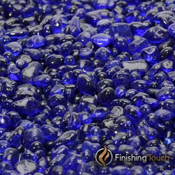 "Finishing Touch Products - 1 Pound Bag 1/4"" Sapphire Glass Pebbles - Color: Sapphire"