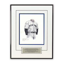 "Heritage Sports Art - Original art of the MLB 1936 New York Yankees uniform - This beautifully framed piece features an original piece of watercolor artwork glass-framed in a timeless thin black metal frame with a double mat. The outer dimensions of the framed piece are approximately 13.5"" wide x 17.5"" high, although the exact size will vary according to the size of the original piece of art. At the core of the framed piece is the actual piece of original artwork as painted by the artist on textured 100% rag, water-marked watercolor paper. In many cases the original artwork has handwritten notes in pencil from the artist. Simply put, this is beautiful, one-of-a-kind artwork. The outer mat is a clean white, textured acid-free mat with an inset decorative black v-groove, while the inner mat is a complimentary colored acid-free mat reflecting one of the team's primary colors. The image of this framed piece shows the mat color that we use (Medium Blue). Beneath the artwork is a silver plate with black text describing the original artwork. The text for this piece will read: This original, one-of-a-kind watercolor painting of the 1936 New York Yankees uniform is the original artwork that was used in the creation of this New York Yankees uniform evolution print and tens of thousands of other New York Yankees products that have been sold across North America. This original piece of art was painted by artist Nola McConnan for Maple Leaf Productions Ltd.  1936 was a World Series winning season for the New York Yankees. The piece is framed with an extremely high quality framing glass. We have used this glass style for many years with excellent results. We package every piece very carefully in a double layer of bubble wrap and a rigid double-wall cardboard package to avoid breakage at any point during the shipping process, but if damage does occur, we will gladly repair, replace or refund. Please note that all of our products come with a 90 day 100% satisfaction guarantee. If you have any questions, at any time, about the actual artwork or about any of the artist's handwritten notes on the artwork, I would love to tell you about them. After placing your order, please click the ""Contact Seller"" button to message me and I will tell you everything I can about your original piece of art. The artists and I spent well over ten years of our lives creating these pieces of original artwork, and in many cases there are stories I can tell you about your actual piece of artwork that might add an extra element of interest in your one-of-a-kind purchase. Please note that all reproduction rights for this original work are retained in perpetuity by Major League Baseball unless specifically stated otherwise in writing by MLB. For further information, please contact Heritage Sports Art at questions@heritagesportsart.com ."