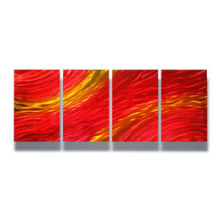Miles Shay - Metal Art Wall Art Decor Abstract Contemporary Modern Sculpture- Sunset - This Abstract Metal Wall Art & Sculpture captures the interplay of the highlights and shadows and creates a new three dimensional sense of movement as your view it from different angles.