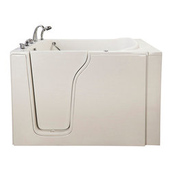 """Ella's Bubbles - Bariatric 33 Air Massage Walk-In Bathtub in White with Left Drain/Door - The Ella Bariatric 33 Walk In Bathtub is designed to accommodate a full spectrum of body types. Similar to the Ella Bariatric (35), the bathtub shell is constructed of the highest grade fiberglass composite with a gel coat high gloss finish for beauty and durability. It is supported with a durable stainless steel frame. As with all of our durable high gloss finish gel coat walk in bathtubs, this bathtub includes an anti-slip floor, low step in threshold for easy entrance, an extension panel to fit into 60 in. opening, an """"L"""" shaped safety grab bar, and high quality 5 piece Traditional Fast Fill Roman Faucet set (10.5GPM @ 80PSI) including pull out hand shower. You can chose this bathtub in left or right hand side door and drain .This model is available in soaking, hydro massage, air massage or dual massage."""