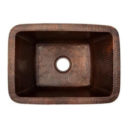 Premier-Copper-Products - Rectangle Copper Bar Sink W/ 2 Drain Size - BRECDB2 Premier Copper Products Rectangle Copper Bar Sink W/ 2 Inch Drain Size