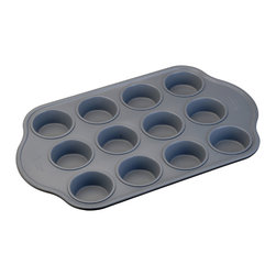 "Berghoff - Berghoff Muffin pan 18.75"" x 11.75"" x 0.75"" - Muffin pan with  a ceramic non-stick coating. Naturally 6 times stronger than any traditional non-stick coating, does not contain toxic or hazardous materials. Muffins or cupcakes slide out with ease. Color: blue/gray interior and black exterior Inside dimensions: 3"" x 1 1/2"" Outside dimensions: 18 3/4"" x 11 3/4"" x 1 1/2"""
