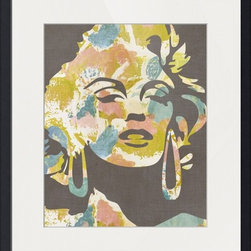 Imagekind - Marilyn From Around The Way - Gray, Framed Art Print - Nancy draws inspiration from nature, fashion, and interior design.  Hand-painted shapes and textures pulse among the buzz of digital geometries. Pop art and mod motifs incorporated with symmetry, repetition and vibrant colors create bold patterns that make for great modern wall décor in any space.
