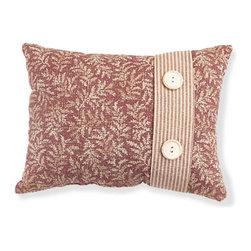 Renovators Supply - Pillows Waverly Lookout Mountain Accent Pillow Set of 2 - Crimson patterned pillows accent our Waverly Lookout Mountain collection.  One is the button pillow shown; the other pullow has the same floral pattern in the center with striped edging.