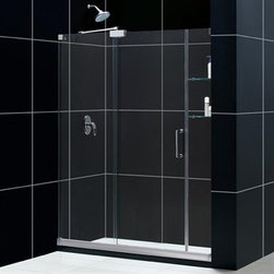 """Bath Authority DreamLine - Bath Authority DreamLine Mirage Frameless Sliding Shower Door (56""""-60"""") - The amazing design of the DreamLine(TM) MIRAGE frameless sliding shower door offers a unique design and amazing function. The design includes a single sliding door complemented by two stationary glass panels, one with a set of integrated glass shelves. The smart design of the MIRAGE sliding shower door also allows for door width adjustments to fit door openings of 56""""-60"""". The MIRAGE frameless sliding shower door will be centerpiece of your bathroom. Matches with any DreamLine(TM) Amazon Shower base. Shower base not included Features 3/8"""" (10mm) thick tempered clear glass Unique frameless sliding shower door design Single sliding door operationDoor opening: 18 - 22""""Two stationary panels: 25-1/4""""and 8"""" Two stationary glass side panels, one with two integrated glass shelvesWidth installation adjustability: 56 - 60"""" Chrome or brushed nickel hardware finishAluminum bottom guide rail may be shortened by cutting up to 4"""" Out-of-plumb installation adjustability: NoShower base not included Optional SlimLine shower base and shower backwalls available Information regarding the return policy of your DreamLine(TM) product is available here. If you have any questions, please contact us before ordering. Installation Instructions Technical Drawing"""