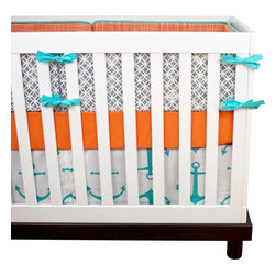 "Modified Tot - Baby Bedding Crib Set, Pacific Anchors - Let down your anchor and enjoy this nautical theme in a modern orange, charcoal and pacific turquoise palette. The three piece set includes bumpers with hand-stitched fabric ties and contrasting piping, a fitted sheet with elastic all the way around and a four-sided skirt with a 15"" drop. Bumpers are created in six separate pieces for easy transition to a toddler bed, they measure 1"" thick and 10"" high. All items are proudly made in the USA. All products are made to order."