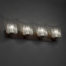 Justice Design Wire Glass Modular 4-Light Bath Bar in Dark Bronze WGL-8924-30-SW