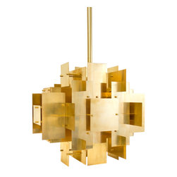 Robert Abbey - Robert Abbey Jonathan Adler Puzzle Brass Chandelier - Jonathan Adler's Puzzle Collection for Robert Abbey features an antique brass chandelier inspired by a house of cards. Solid brass is layered into a dynamic 3-D composition.
