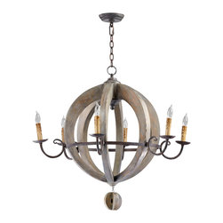 Kathy Kuo Home - French Country Round Barrel Carved Wood Limed Oak 6 Light Chandelier - A symphony of circles! Crafted in wood and iron, with half a dozen curling arms topped by wax effect candles, this rustic beauty knows it's geometry well!  A unique piece perfect for stylish farmhouses, country cottages and vintage influenced apartments.