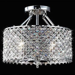 Chrome/Crystal 4-light Round Ceiling Chandelier - Round crystals like these will add sparkle from any direction.