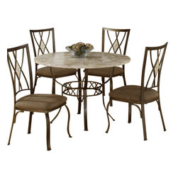 Hillsdale Furniture - Hillsdale Brookside 5-Piece Round Dining Room Set with Diamond Back Chairs - Our Brookside 5-piece dining room set is uniquely elegant. Intricate tile inlays in fossiltone stone make a variable mosaic in ivory that is a one of a kind statement for a table top. The details of the stone top are downplayed by delicate ironwork that comprises the tables base. Each chair is equipped with an ethereal diamondback pattern complete with an inset stone for added glamour. Each chair's seat is upholstered with a microfiber cushion in natural tones that make an excellent compliment to any space. The set as a whole is dainty enough to be unimposing in a small space, yet with enough detail to be the focal point of a dining area.