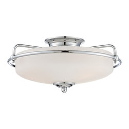 Quoizel - Quoizel QZ-GF1617C - This understated style provides a stylish, soft modern look for most any room.  The etched shade is painted white inside, diffusing the light evenly and illuminating your home with a soothing glow.  It is held in place by softly curved arms and is available in three finishes: Antique Nickel, Polished Chrome and Palladian Bronze