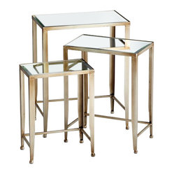 Cyan - Harrow Nesting Tables - A set of three classic nesting tables gets a glam makeover thanks to iron bases in an antiqued silver finish and beveled mirror tops. Stacked together, they're low profile and take up little space, but pull them apart and they can fully show their beauty and function.