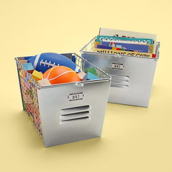 Kids Metal Locker Storage Baskets | Land of Nod - Go for an industrial look with this metal locker basket storage.