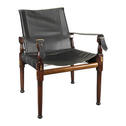 Authentic Models - Campaign Chair - A classic assembly campaign chair. Originally used in the British Imperial Army as an officer's chair when in camp. Heavy, double layered cowhide, elegant, natural leather piping. Brass hardware. Enjoy Victorian comfort combined with a timeless look.
