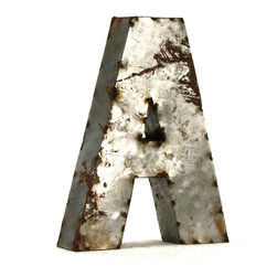 """Kathy Kuo Home - Industrial Rustic Metal Small Letter A 18""""H - Create a verbal statement!  Made from salvaged metal and distressed by hand for an imperfect, time-worn look."""