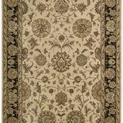 Nourison - Nourison 2000 Hand-tufted Kashan Beige Wool Rug - Pale parchment takes on dramatic life when contrasted by an ebony black border in this delicate yet dynamic Persian-influenced signature rug. Stylized flowers burst into bloom and create a sense of pulsating energy that makes a room come to life.