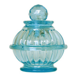 Dreams - Short Bottle Lamp, Aqua Blue - An antique glass-tasted bottle emitting light will create a healing space. We have produced this LED room light that flickers like a candle. A lovely room light to produce your relaxing time. Auto turn off after one hour.