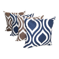 Land of Pillows - Emily Navy Blue and Drew Italian Brown Modern Ogee Throw Pillows - Set Of 4 - Fabric Designer - Premier Prints