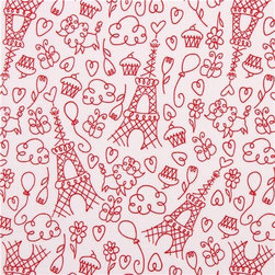 white Paris Love doodles fabric Michael Miller Petite Paris - white Paris fabric from the USA with Eiffel Tower, hearts, balloons, cupcakes, clouds etc.