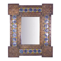 Mexican Artisans - Bronze Tin & Talavera Tile Mirror - This unique Mexican tin & tile mirror is a work of art guaranteed to make a design statement  on any wall in your home!  Our Mexican mirror can be hung horizontally or vertically to compliment any room or style of decor.